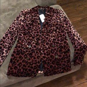 J crew. Cheetah velvet blazer. Size 00.